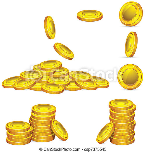 Clipart Vector of Gold Coin - illustration of collection of golden ...