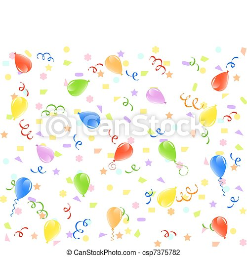vector illustration of a birthday background with balloons, ribbons and confetti. - csp7375782
