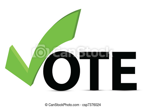 Vote text with check mark  - csp7376024