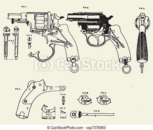 Vintage Colt Revolver Drawing - csp7376063