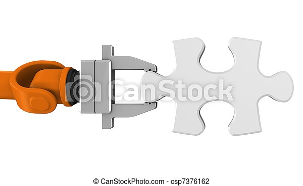 Robot holding jigsaw puzzle piece - csp7376162