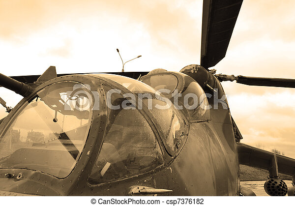 Military helicopter cockpit. Sepia. - csp7376182