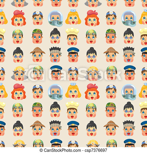 cartoon people job face seamless pattern - csp7376697