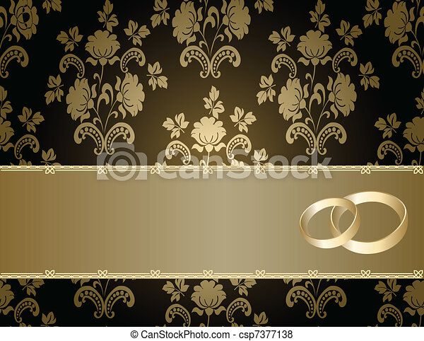 Wedding card with a floral pattern - csp7377138