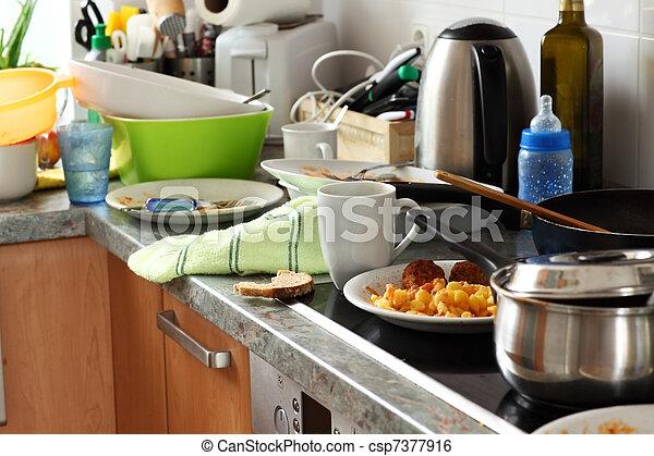 Dirty kitchen - csp7377916