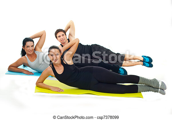 Happy team of fitness people doing exercises - csp7378099