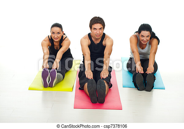 Cheerful group of fitness people stretch - csp7378106