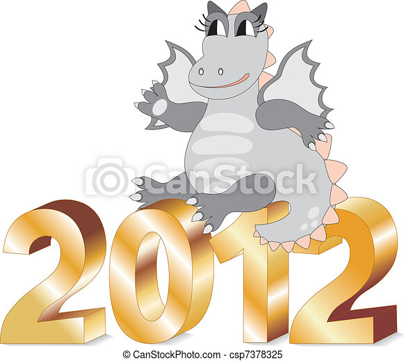 Cartoon dragon sitting on gold lett - csp7378325
