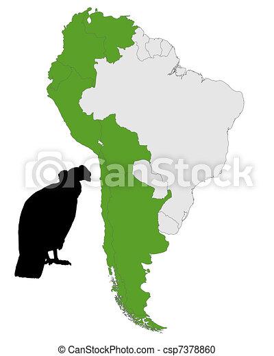 Vector Clipart of Andean Condor distribution csp7378860 ...