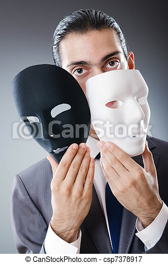 Industrial espionate concept with masked businessman - csp7378917