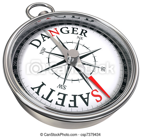 danger vs safety opposite ways  - csp7379434