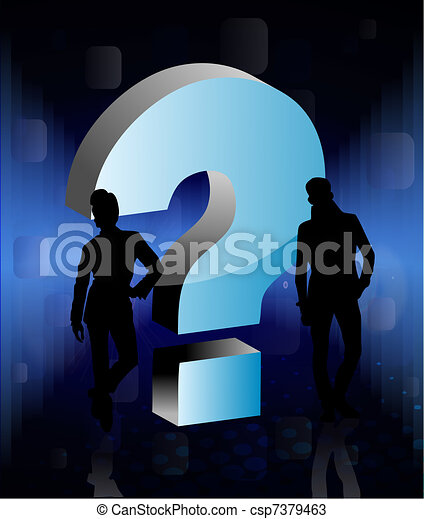 3D question sign with people - csp7379463