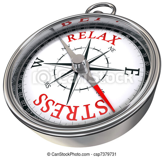 relax stress red words on compass  - csp7379731