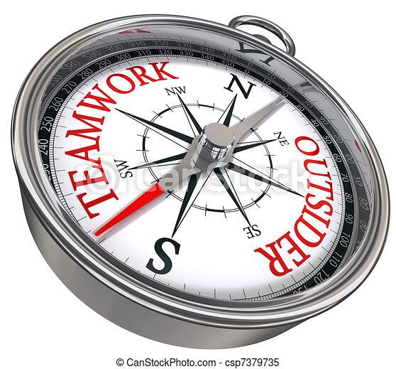teamwork versus outsider compass - csp7379735
