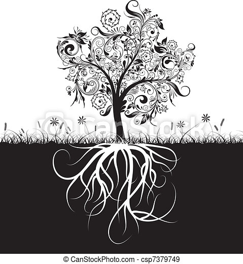Decorative tree and roots, grass, vector - csp7379749