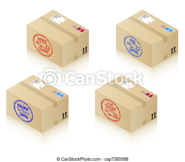Boxes with shipping stamps - csp7380588