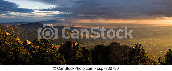Majestic Desert Sunset Panorama, Albuquerque New Mexico - csp7380730