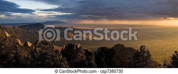 Majestic Desert Sunset Panorama, Albuquerque New Mexico - csp7380730