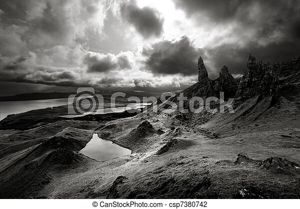 Moody skies over dramatic landscape in Scottish Highlands - csp7380742