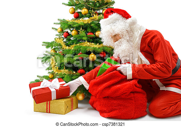 Santa putting the gift boxes under the Christmas tree - csp7381321