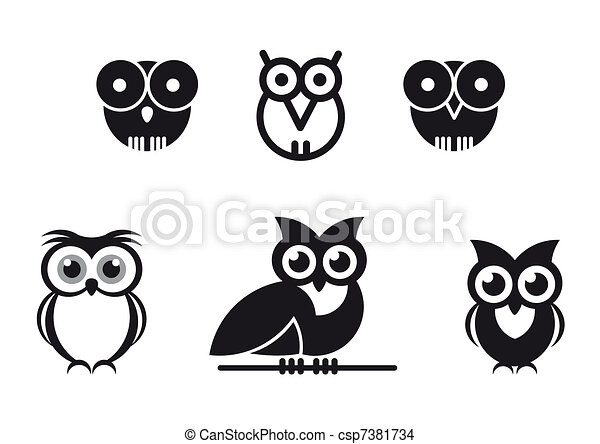 graphic designed owls - csp7381734