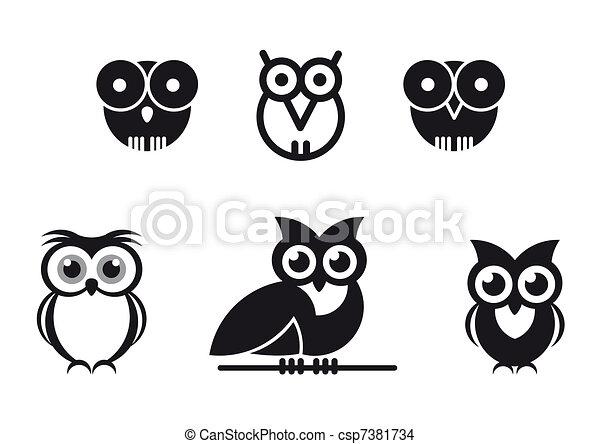 graphic designed owls - csp7381734