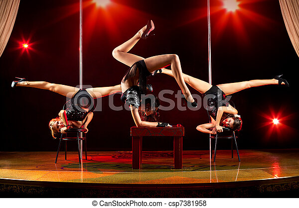 Three women acrobatic show - csp7381958