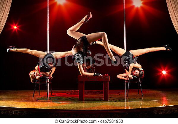 Three women acrobatic show - csp7381958