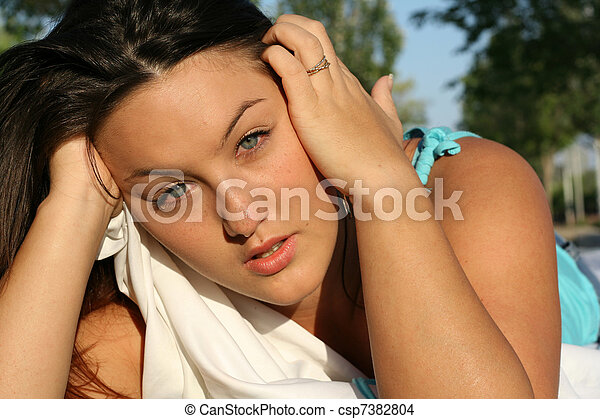grief, young sad unhappy woman or teen grieving, crying tears - csp7382804