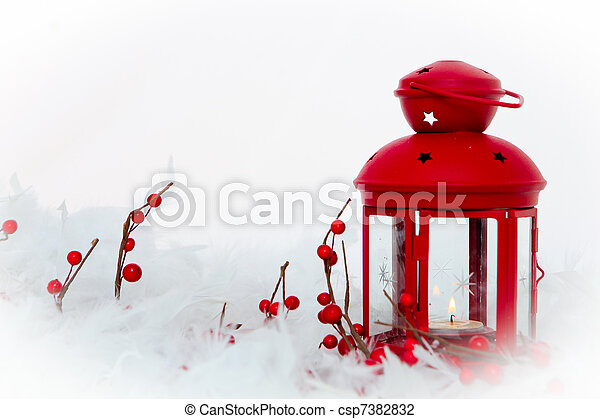 christmas decoration, candle lamp, holly berries and snow - csp7382832