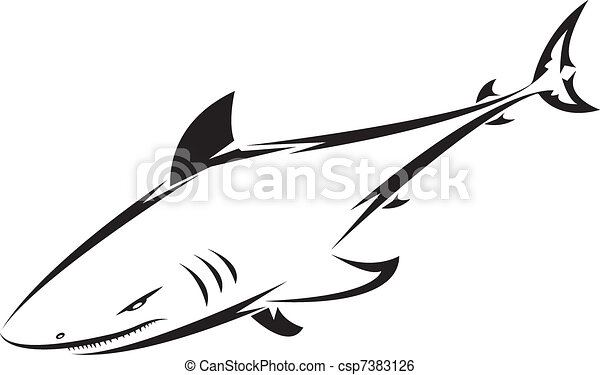 Clip art vecteur de tatouage requin requin tatouage - Dessin de requin blanc ...