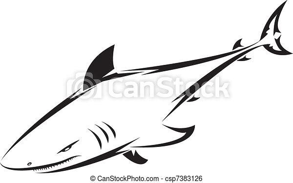 Clip art vecteur de tatouage requin requin tatouage pour conception csp7383126 - Requin en dessin ...
