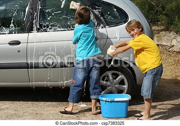 kids washing car doing chores, - csp7383325