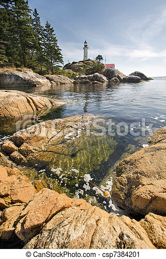 Point Atkinson Lighthouse in Vancouver BC Vertical - csp7384201