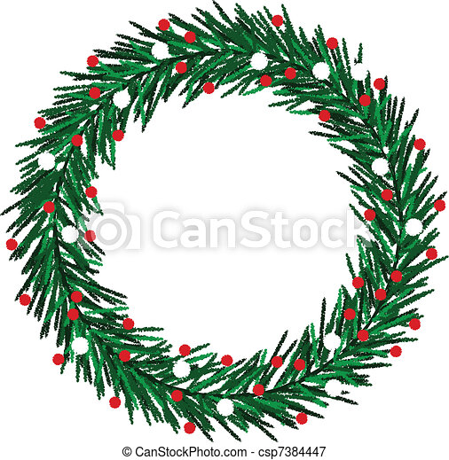 Sketchy Christmas wreath - csp7384447