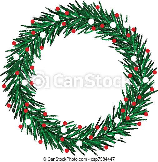 Sketchy Christmas wreath - csp7384447