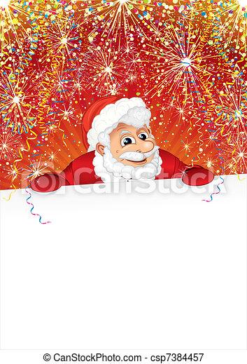 Celebrating Santa with Poster - csp7384457