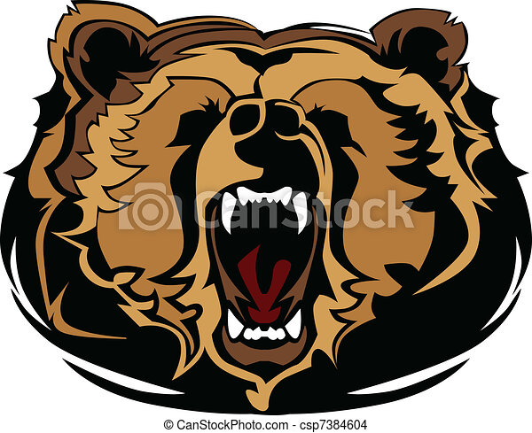 Grizzly Bear Mascot Head Vector Gra - csp7384604