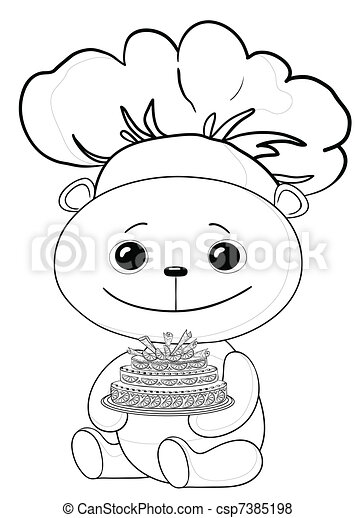 Teddy bear cook with cake, contours - csp7385198