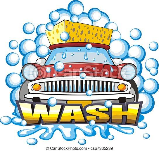Illustration de voiture lavage signe signe a voiture corps lavage csp7385239 - Coloriage car wash ...