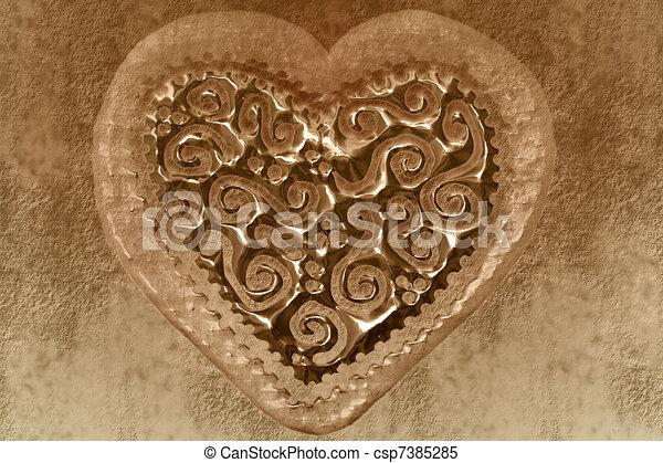 vintage valentine card, sepia heart background - csp7385285