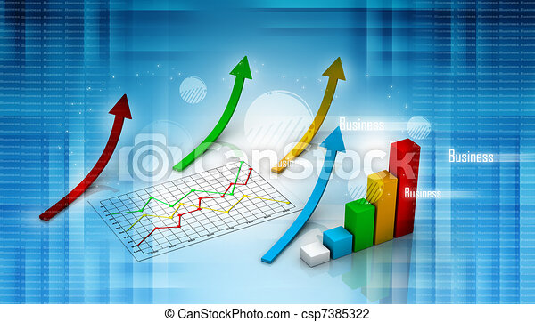graph showing rise in profits   - csp7385322