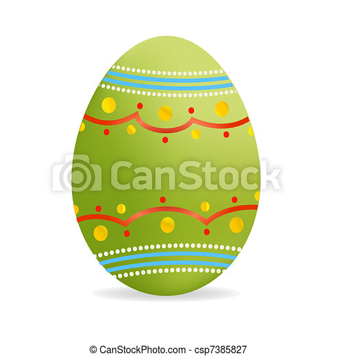 decorative green easter egg symbol isolated - csp7385827