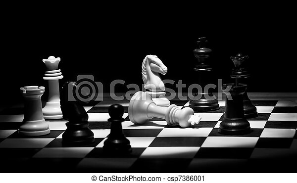 Chess game in black and white - csp7386001
