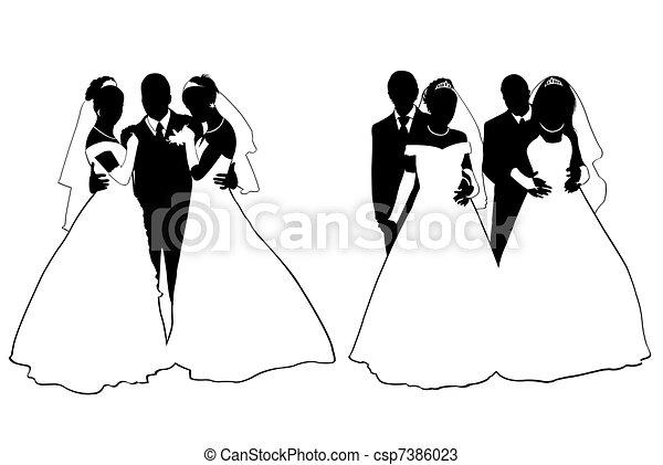 dessins de mariage couple silhouette isol blanc. Black Bedroom Furniture Sets. Home Design Ideas