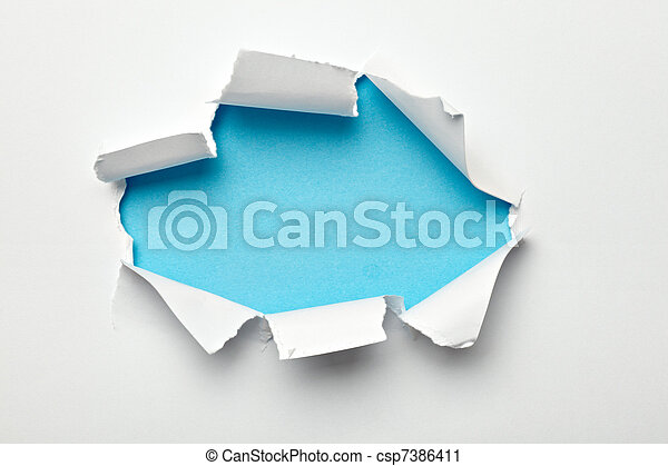 paper hole ripped destroyed damaged exploding - csp7386411
