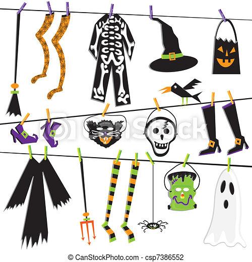 Halloween Costume Clothesline - csp7386552