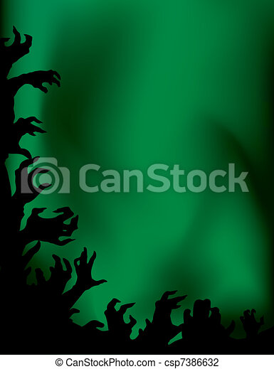 Crazy zombie night party. Hands silhouettes. - csp7386632