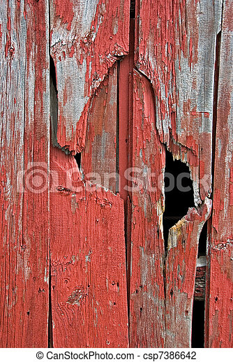 weathered red barn siding - csp7386642