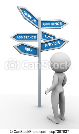 3d man and support signpost - csp7387837